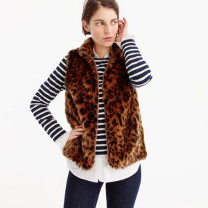 Jcrew Faux fur leopard print